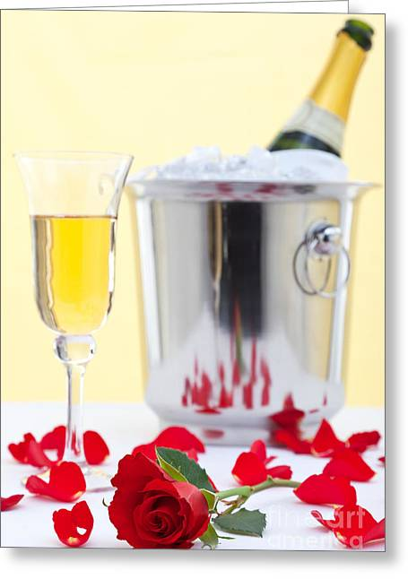 Bubbly Greeting Cards - Red rose and champagne Greeting Card by Richard Thomas