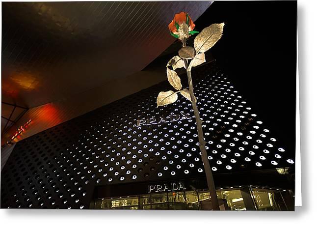 Red Rose Prada Greeting Card by Nicholas  Grunas