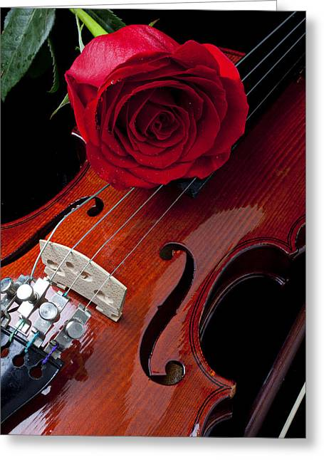 Viola Greeting Cards - Red Rose With Violin Greeting Card by Garry Gay