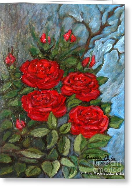 Folkartanna Paintings Greeting Cards - Red Roses in Old Garden Greeting Card by Anna Folkartanna Maciejewska-Dyba
