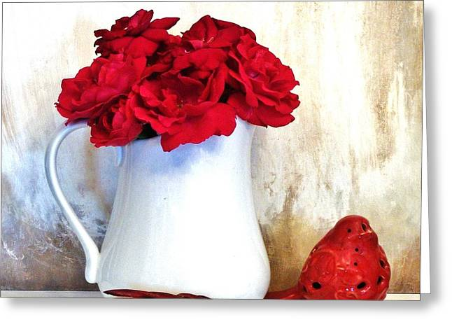 Ceramic Glazes Greeting Cards - Red Roses Red Rover Greeting Card by Marsha Heiken