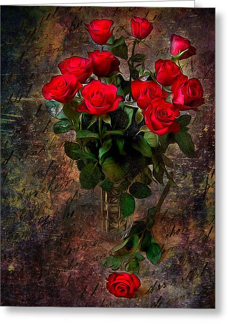 Floral Digital Art Greeting Cards - Red Roses Greeting Card by Svetlana Sewell