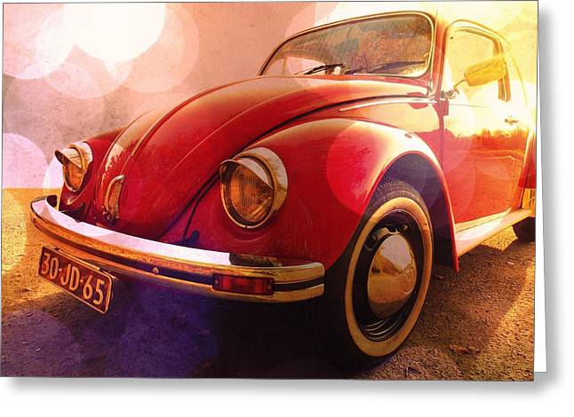 Vw Beetle Greeting Cards - Red Ruby Greeting Card by Danny Van den Groenendael
