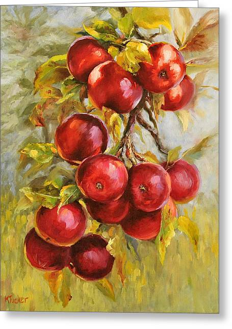 Shadows On Apples Greeting Cards - Red Russian Greeting Card by Katherine Tucker