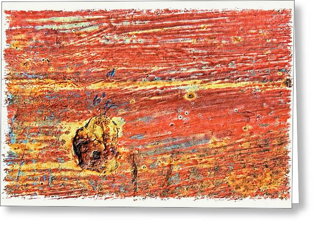 Red Rusted Steel Painted Background Greeting Card by Rudy Umans