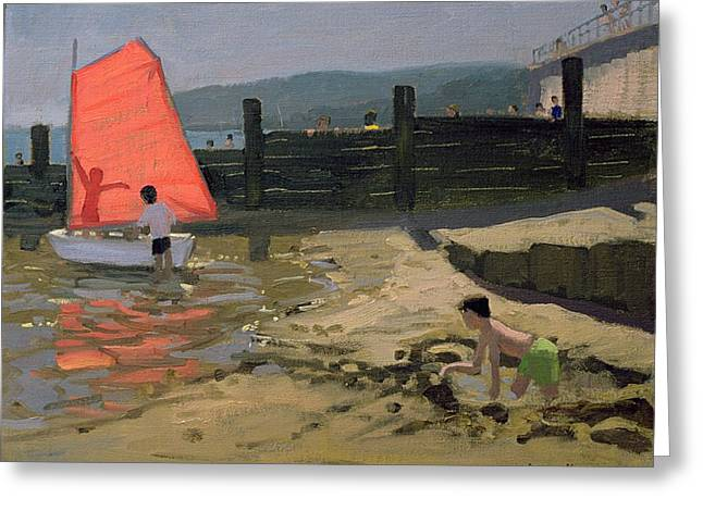 Sandcastle Greeting Cards - Red Sail Isle of Wight Greeting Card by Andrew Macara