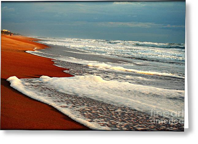 Red Sand White Surf Greeting Card by Laura Ogrodnik