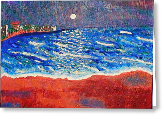 Undertow Paintings Greeting Cards - Red Sands of Havana Greeting Card by Angela Annas