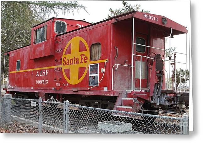 Sante Fe Caboose Greeting Cards - Red Sante Fe Caboose Train . 7D10325 Greeting Card by Wingsdomain Art and Photography