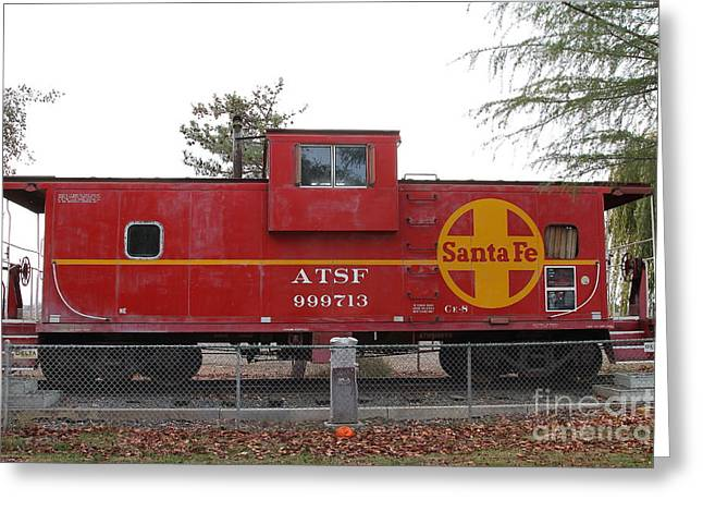 Old Cabooses Greeting Cards - Red Sante Fe Caboose Train . 7D10328 Greeting Card by Wingsdomain Art and Photography