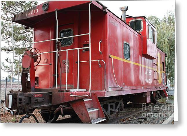 Old Cabooses Greeting Cards - Red Sante Fe Caboose Train . 7D10330 Greeting Card by Wingsdomain Art and Photography