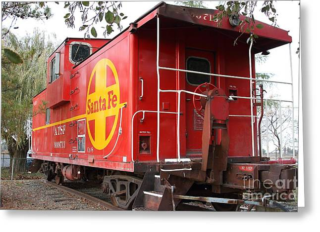 Old Cabooses Greeting Cards - Red Sante Fe Caboose Train . 7D10332 Greeting Card by Wingsdomain Art and Photography