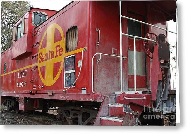 Old Cabooses Greeting Cards - Red Sante Fe Caboose Train . 7D10334 Greeting Card by Wingsdomain Art and Photography