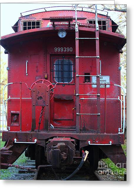 Caboose Greeting Cards - Red Sante Fe Caboose Train . 7D10476 Greeting Card by Wingsdomain Art and Photography