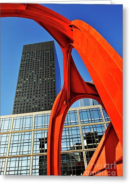 Red Sculpture And Skyscraper At  La Defense Greeting Card by Sami Sarkis
