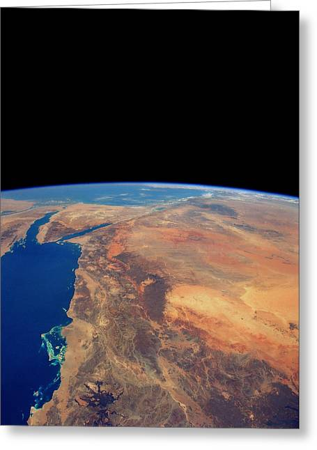 Sinai Mountain Greeting Cards - Red Sea From Space Greeting Card by Nasa