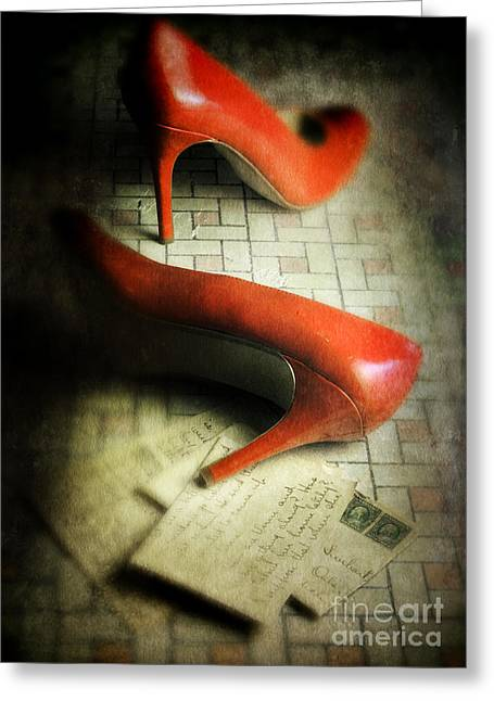 Love Letter Greeting Cards - Red Shoes and Letters Greeting Card by Jill Battaglia