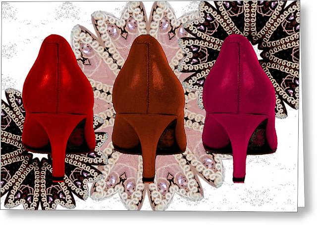 Shades Of Red Digital Art Greeting Cards - Red Shoes in Shades of Red Greeting Card by Maralaina Holliday