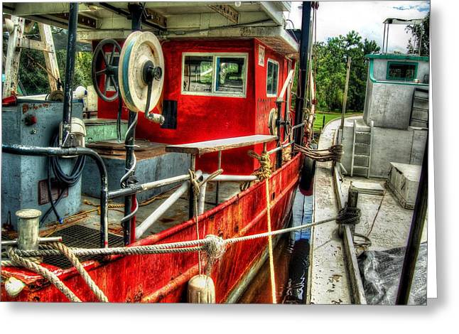 Crimson Tide Greeting Cards - Red Shrimper Greeting Card by Michael Thomas