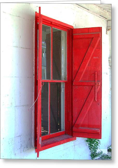 Red Shutters Ll Greeting Card by Bill Fuller