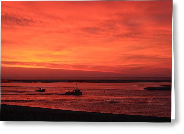 Chatham Lighthouse Greeting Cards - Red Skies at Morning Sailors Take Warning Greeting Card by John Burk