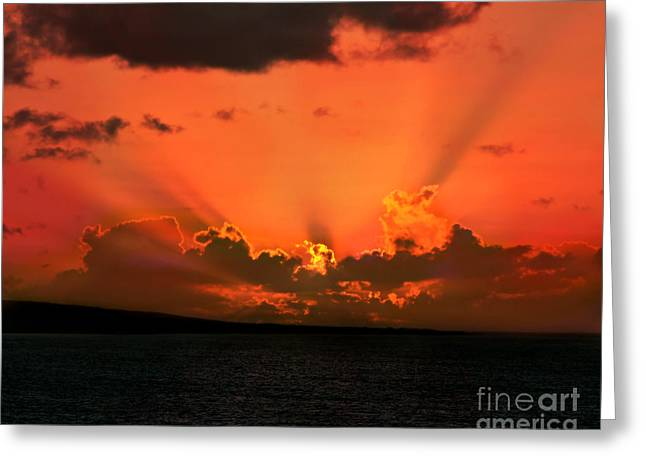 Best Ocean Photography Greeting Cards - Red Sky At Night Greeting Card by Perry Webster