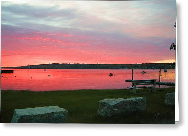 Photorealism Greeting Cards - Red Sky At Night Rockland Maine Greeting Card by Douglas Auld