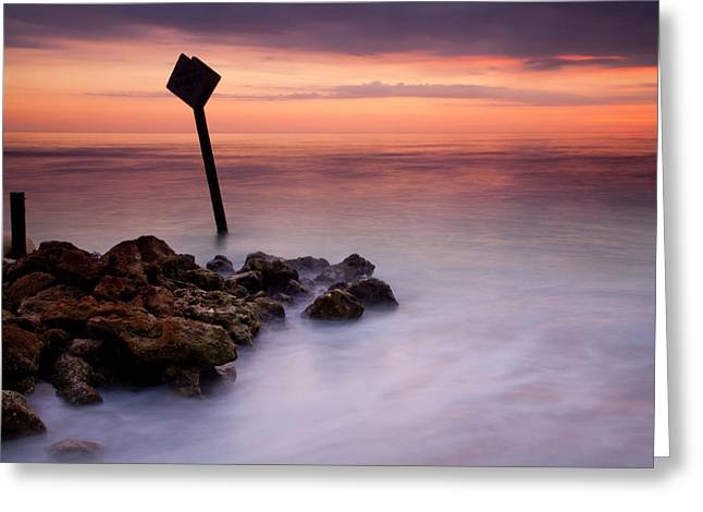 Gulf Coast Florida Greeting Cards - Red Sky Caution Greeting Card by Mike  Dawson
