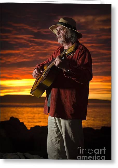 David Lade Greeting Cards - Red sky guitarist Greeting Card by David Lade