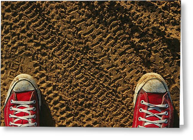 Types Of Clothing Greeting Cards - Red Sneakers On Soil Patterned Greeting Card by Joel Sartore
