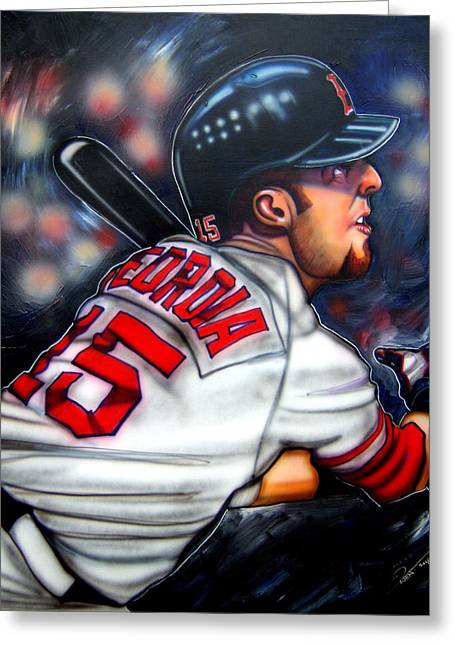 Red Sox Paintings Greeting Cards - Red Sox All Star Dustin Pedroia Greeting Card by Dave Olsen