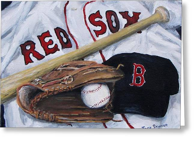 Red Sox Paintings Greeting Cards - Red Sox Number six Greeting Card by Jack Skinner