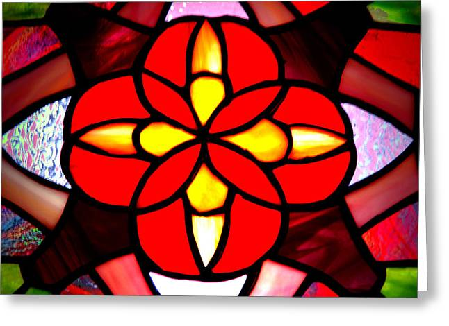Chicago Glass Art Greeting Cards - Red Stained Glass Greeting Card by LeeAnn McLaneGoetz McLaneGoetzStudioLLCcom