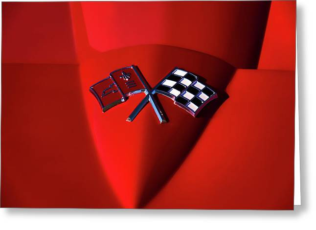 Red Chevrolet Greeting Cards - Red Stingray Badge Greeting Card by Douglas Pittman