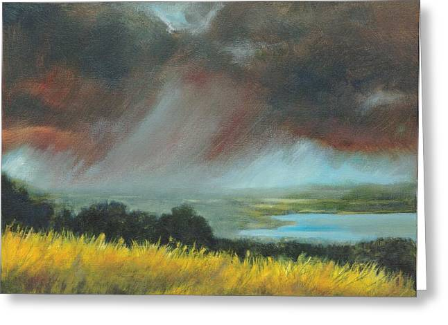 Turbulent Blue Skies Paintings Greeting Cards - Red Storm Greeting Card by Dennis Kirby