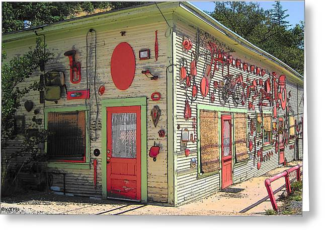 Photographs With Red. Greeting Cards - Red Art Building - Bisbee AZ  Greeting Card by Rebecca Korpita
