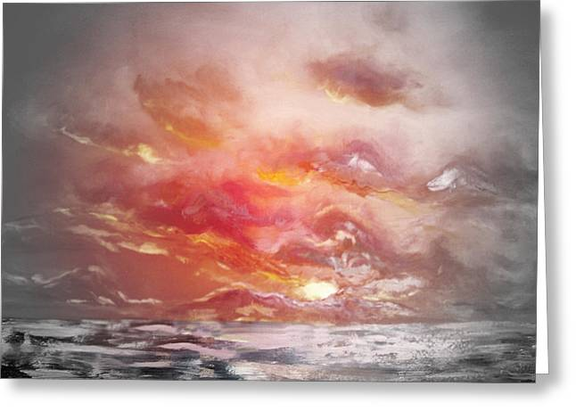 Sunset Posters Greeting Cards - Red Sunset 77 Greeting Card by Gina De Gorna
