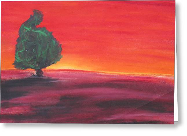 Surreal Landscape Pastels Greeting Cards - Red Sunset Greeting Card by Casey P