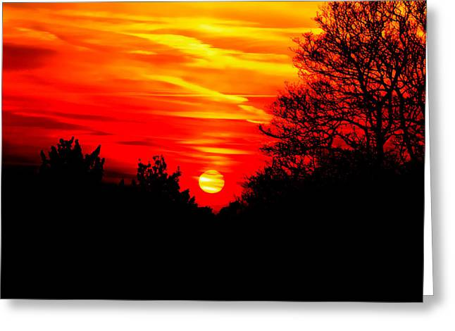 Evening Lights Greeting Cards - Red sunset Greeting Card by Jasna Buncic