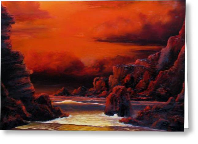 Sunset Seascape Reliefs Greeting Cards - Red Sunset Greeting Card by John Cocoris