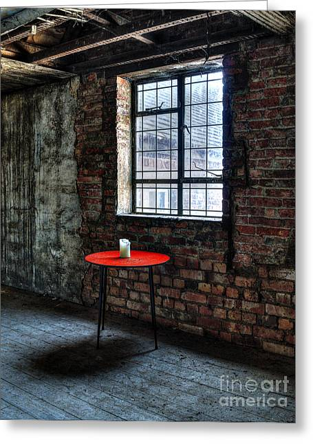 Red Table Greeting Card by Steev Stamford