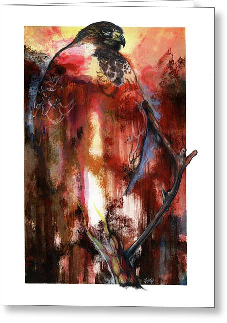 Roots Mixed Media Greeting Cards - Red Tail Greeting Card by Anthony Burks Sr