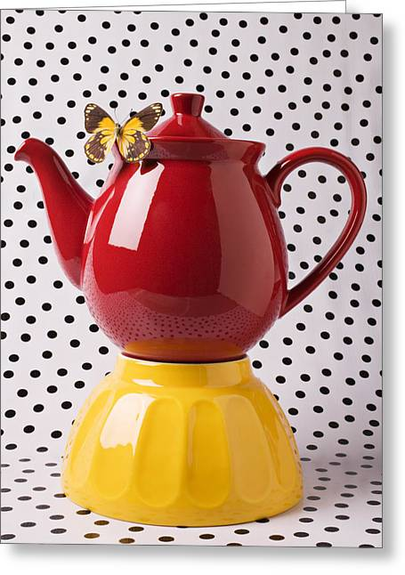 Yellow Butterfly Greeting Cards - Red teapot with butterfly Greeting Card by Garry Gay
