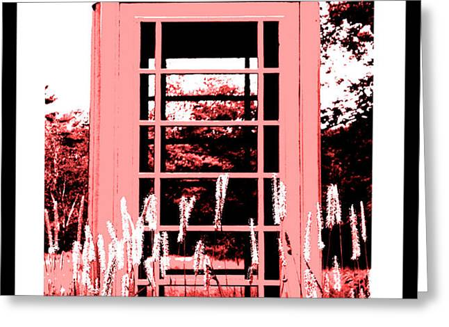 Red Telephone Booth in a Field in Maine Greeting Card by Kara Ray