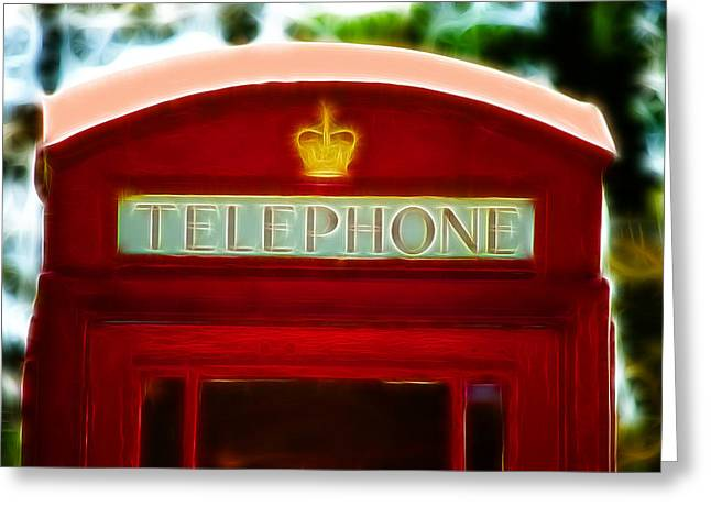Telephone Box Greeting Cards - Red Telephone Box Greeting Card by Chris Thaxter