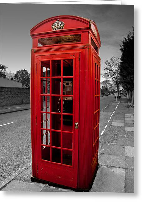 Telephone Box Greeting Cards - Red telephone Box Greeting Card by Dawn OConnor