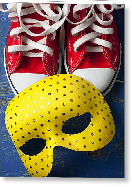 Red Shoe Greeting Cards - Red Tennis Shoes and Mask Greeting Card by Garry Gay