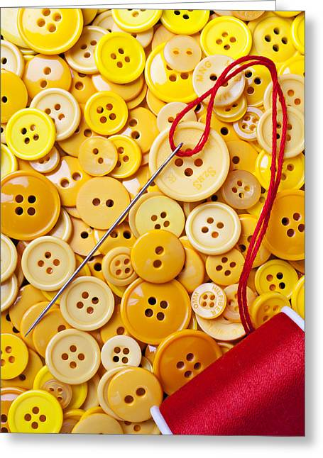 Disk Greeting Cards - Red thread and yellow buttons Greeting Card by Garry Gay