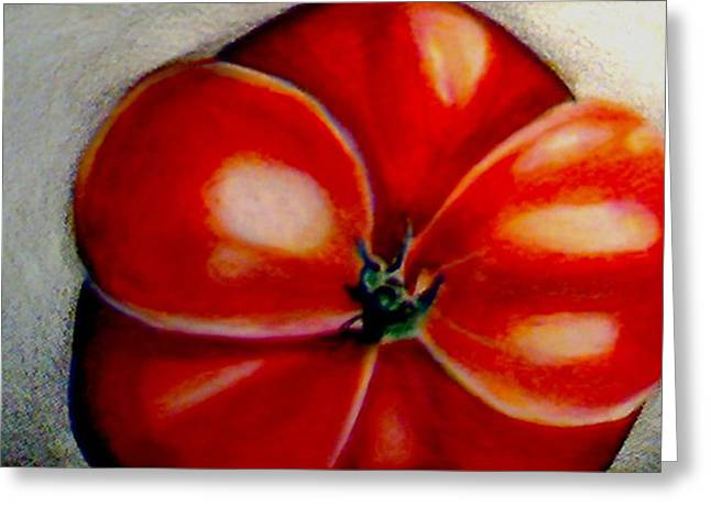 Tomato Drawings Greeting Cards - Red Tomato Greeting Card by Cami Rodriguez