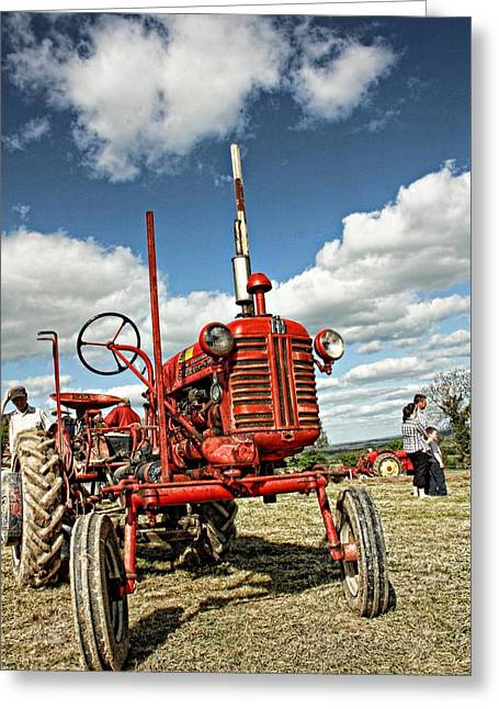 Julie Williams Greeting Cards - Red Tractor Greeting Card by Julie Williams